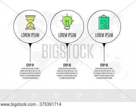 Infographic Circles With Three Steps, Arrows. Line Vector Template. Can Be Used For Diagram, Busines