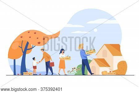 Farming And Agriculture Concept. Farmers Picking Fruits Under Tree, Carrying Crates With Vegetables