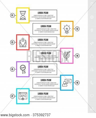 Vector Infographics Design Template With Arrows. Seven Steps. Modern Line Concept Can Be Used For Di