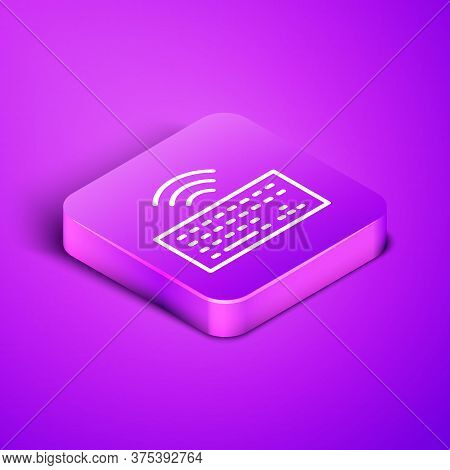 Isometric Line Wireless Computer Keyboard Icon Isolated On Purple Background. Pc Component Sign. Int
