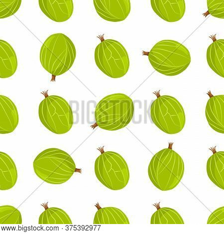 Theme Big Colored Seamless Gooseberry, Bright Berry Pattern For Seal. Berry Pattern Consisting Of Be