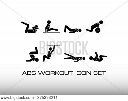 Set Of Abdominal Or Ab Workout Black Icon In Gym Center. This Icon Consist Of Eight Exercise Image.