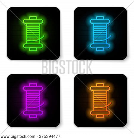 Glowing Neon Line Spinning Reel For Fishing Icon Isolated On White Background. Fishing Coil. Fishing