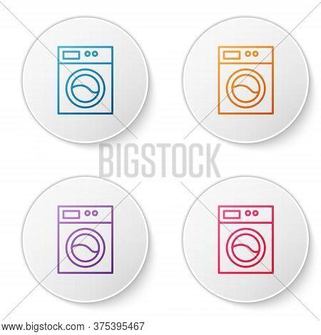 Color Line Washer Icon Isolated On White Background. Washing Machine Icon. Clothes Washer - Laundry