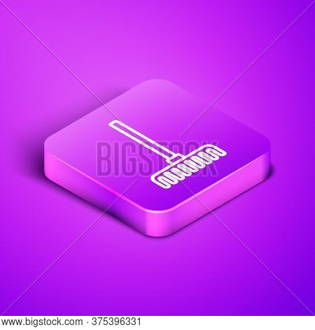 Isometric Line Garden Rake Icon Isolated On Purple Background. Tool For Horticulture, Agriculture, F