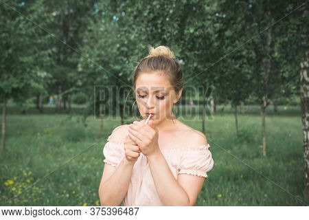 Stylish Teenager Girl Smokes A Cigarette, Concept Of The Problem Of Nicotine Addiction Among Women A
