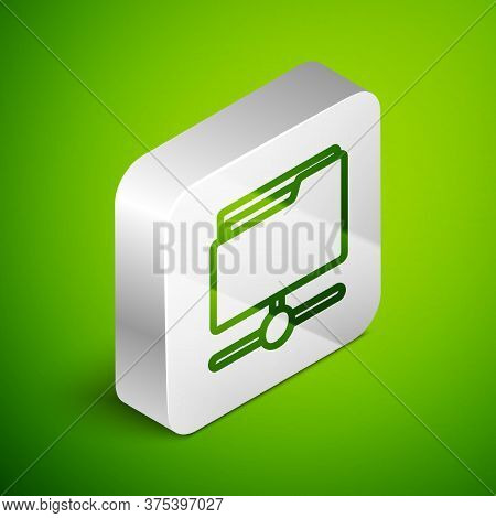 Isometric Line Ftp Folder Icon Isolated On Green Background. Software Update, Transfer Protocol, Rou