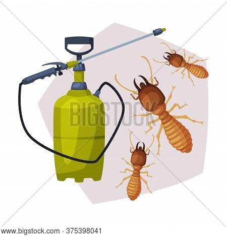 Sprayer Bottle Of Termite Insect Insecticide, Pest Control Service, Detecting And Exterminating Inse