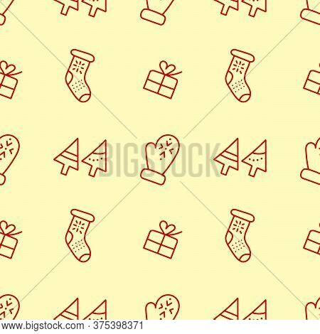 Hand-drawn Seamless Pattern With A Christmas Or New Year Theme. Doodle Mittens, Knitted Socks, Gift