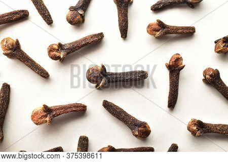 Macro Image Of Cloves Isolated On White Background, Close Up Of Dry Clove