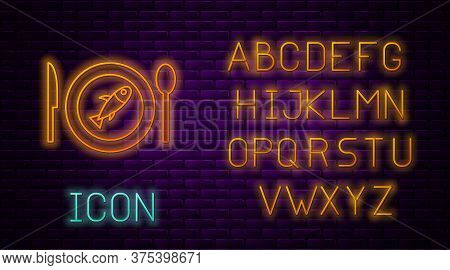 Glowing Neon Line Served Fish On A Plate Icon Isolated On Brick Wall Background. Neon Light Alphabet