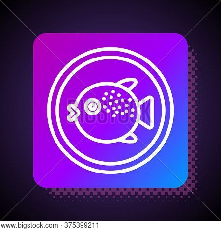 White Line Puffer Fish On A Plate Icon Isolated On Black Background. Fugu Fish Japanese Puffer Fish.