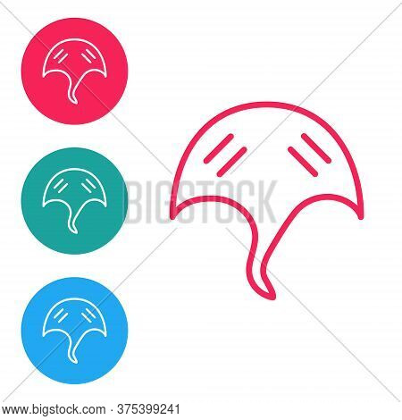 Red Line Stingray Icon Isolated On White Background. Set Icons In Circle Buttons. Vector.