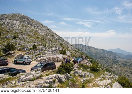 Biokovo Croatia July 2020 Area Behind The Biokovo Skywalk In Croatia. Small Parking Zone Where Peopl
