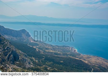 Panoramic View From The Newly Built Skywalk On Biokovo Mountain In Croatia. View Of The Adriatic Sea