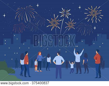Festive City Night Concept. Crowd Of People With Children Celebrating Event And Watching Firework In