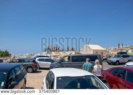Biokovo Croatia July 2020 Small Parking Area In Front Of The Biokovo Skywalk, People Struggling To F