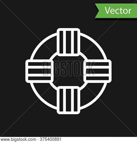White Line Lifebuoy Icon Isolated On Black Background. Lifebelt Symbol. Vector.