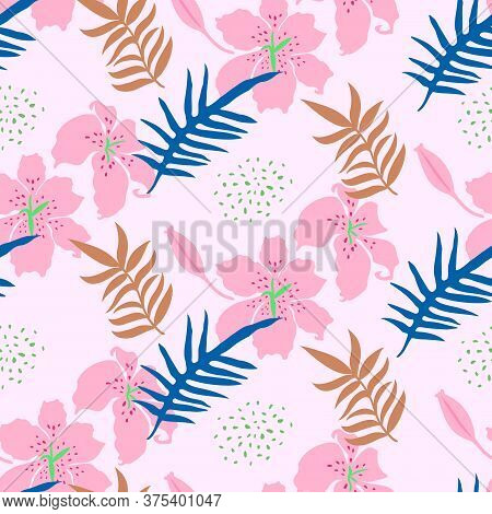Seamless Pattern With Lilly And Leaves. Tropical Camouflage Print. Great For Textiles, Banners, Wrap