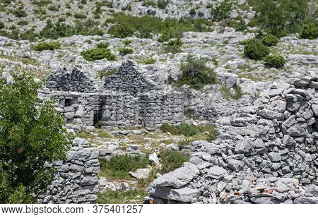 Ancient Hand Built Stone Houses Found When Hiking The Croatian Mountain Of Biokovo. Remains Of Area