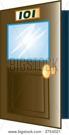 Icon of a classroom door with 101 on the front poster