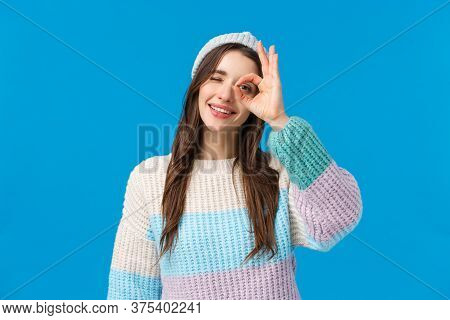 Okay, No Problem Everything Be Good. Cheerful And Cute Relaxed Young Woman Enjoying Winter Holidays,