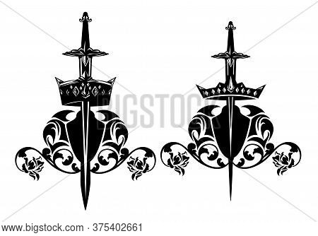 Set Of Fantasy King And Queen Royal Coat Of Arms Black And White Vector Designs - Sword Piercing A C