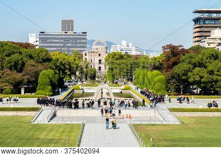 Hiroshima, Japan. 31/10/2019. Wide View Of The Hiroshima Peace Memorial Park And Atomic Bomb Dome Wi