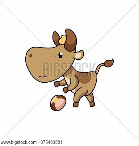 Cute Ox Character Playing Football. 2021 Year Lunar Zodiac Animal. Chinese New Year Of Ox. Cow Vecto