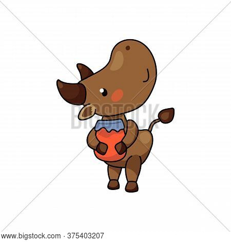 Cute Ox Character With Jam Jar. 2021 Year Lunar Zodiac Animal. Chinese New Year Of Ox. Cow Vector Il