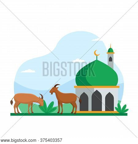 Eid Al Adha Islamic Holiday The Sacrifice Of Livestock Animal Poster Background Design. Goat At Mosq