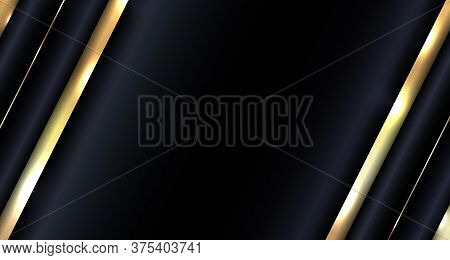 Banner Web Design Abstract Glowing Gold Metallic Overlapping Diagonal On Blue Background Luxury Styl
