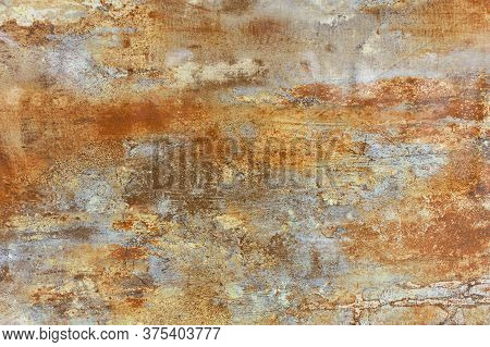 Unusual Vintage Texture Of Brown Steel Sheet Of Old Metal With Rust Coated And Gray Patina Spots.