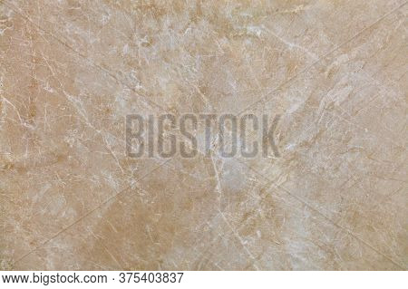 Unusual Texture Of Old Beige Marble With Whitish Beige Spots, Cracks And Scratches. Polished Surface