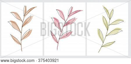 Simple Vector Illustration Of A Pink, Gold And Green Twigs. Watercolor Style Leaves With Black Line