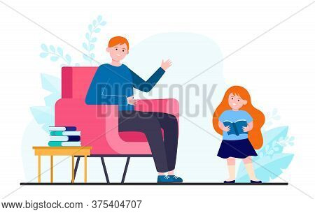 Dad And Daughter Fond Of Reading. Girl Holding Open Book And Walking To Father Flat Vector Illustrat