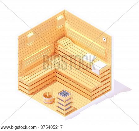 Vector Isometric Low Poly Wooden Sauna Interior. Traditional Finnish Sauna Steam Room. Towels, Woode