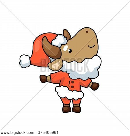 Cute Ox Cartoon Character As Santa Claus. 2021 Year Lunar Zodiac Animal. Chinese New Year Of Ox. Cow