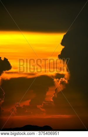 Colorful Of Sunset Sky On Cloud Fishing Boat On Island And Sea