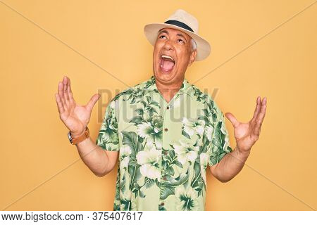 Middle age senior grey-haired man wearing summer hat and floral shirt on beach vacation crazy and mad shouting and yelling with aggressive expression and arms raised. Frustration concept.