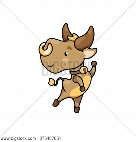 Cute Cow Cartoon Character Jump. 2021 Year Lunar Zodiac Animal. Chinese New Year Of Ox. Cow Vector I
