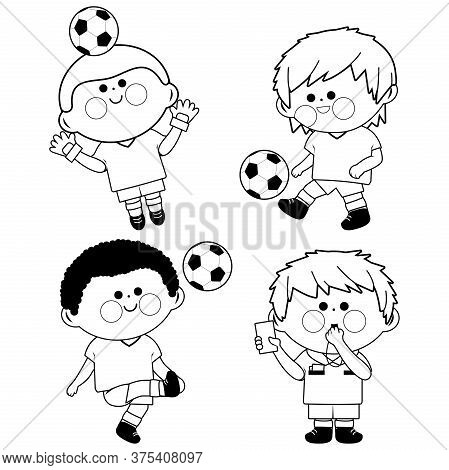 Children Soccer Players, A Goal Keeper And A Referee. Black And White Coloring Page