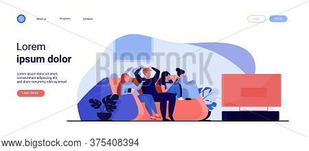 Friends Watching Horror Movie. Group Of Young People Sitting On Sofa At Tv, Covering Eyes. Vector Il