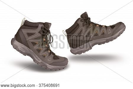 Hiking Boots Walking On White Background, Outdoor Trekking Activity Concept