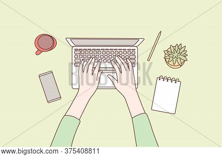 Technology, Social Media, Work, Business Concept. Human Character Hands Using Laptop In Office For W