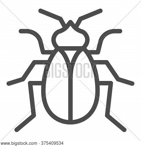 Flea Line Icon, Pests Concept, Home Parasite Insect Sign On White Background, Flea Icon In Outline S