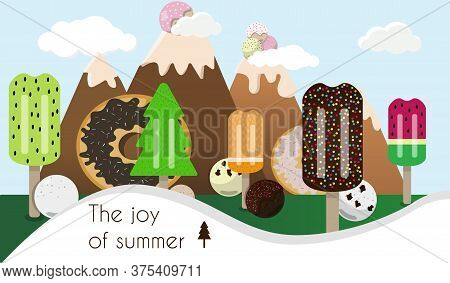 Cartoon Picture Of A Landscape Of Ice Cream And Sweets. Mountains With Gelato Balls And Popsicle Tre