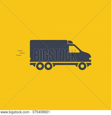 Mini Van Transport Car, Vector Symbol In Flat Simple Style On Orange Background