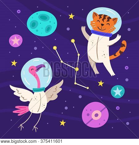 Space Vector Flat Illustration, Set Of Elements, Stickers, Icons. Tiger And Flamingo In Space Suits,