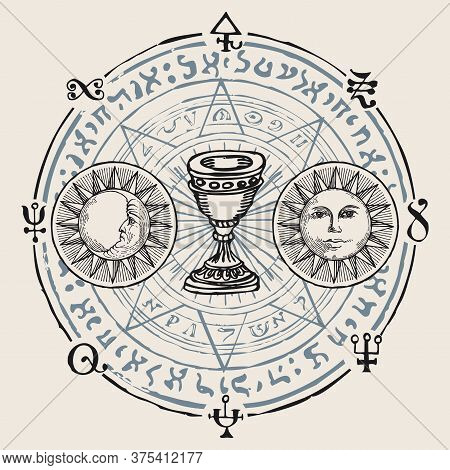 Holy Grail With The Sun, Moon, Alchemical And Masonic Symbols In Retro Style. Vector Hand-drawn Bann